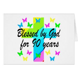 CHRISTIAN 90TH BIRTHDAY PRAYER DESIGN CARD
