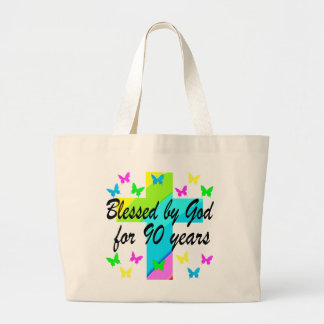CHRISTIAN 90TH BIRTHDAY PRAYER DESIGN LARGE TOTE BAG