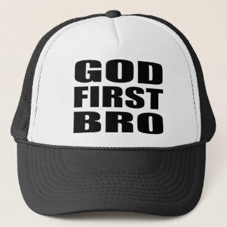 Christian Apparel GOD FIRST BRO Trucker Hat