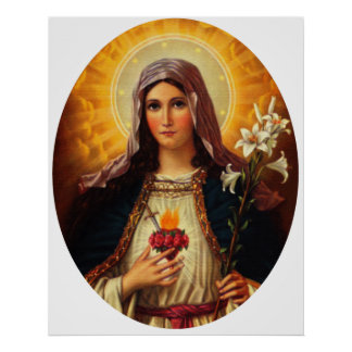 Christian Art of Sacred Heart of Jesus and Mary Poster