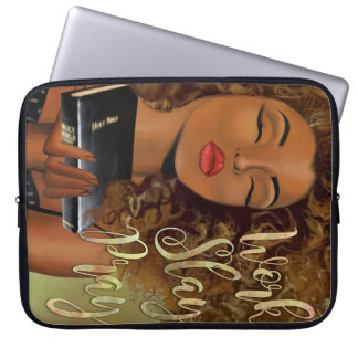 Christian Art Work Slay Pray Laptop Sleeve