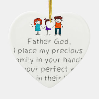 Christian,Bible Quote,Place my Family in God's han Ceramic Ornament