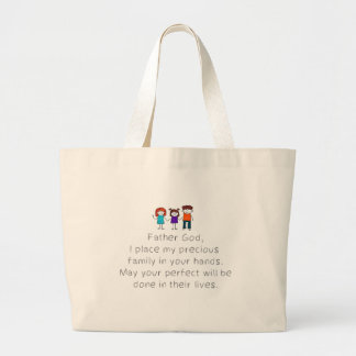 Christian,Bible Quote,Place my Family in God's han Large Tote Bag