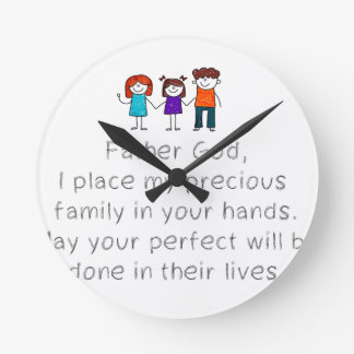 Christian,Bible Quote,Place my Family in God's han Round Clock