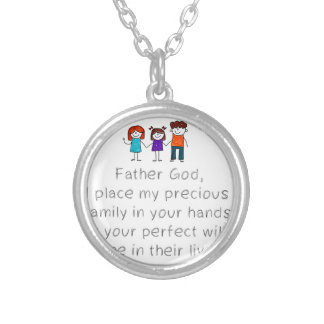 Christian,Bible Quote,Place my Family in God's han Silver Plated Necklace
