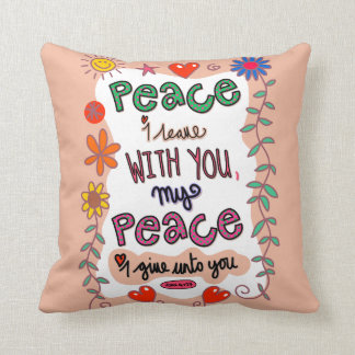 Christian Bible Verse Scripture Text Doodle Throw Pillow