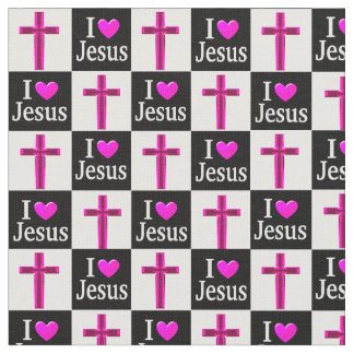 CHRISTIAN BLACK AND PINK CROSS I LOVE JESUS FABRIC