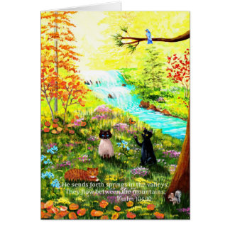 Christian Black Siamese Tabby Cat Creationarts Card