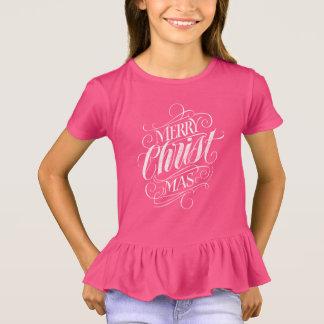 Christian Christ Christmas Chalk Calligraphy Pink T-Shirt
