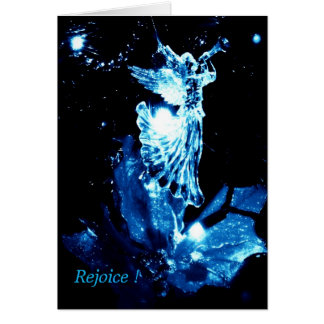Christian Christmas card herald angel blue on blac