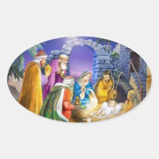 Christian Christmas card Oval Sticker