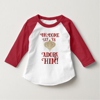 Christian Christmas Gold Ornament Let Us Adore Him T-Shirt