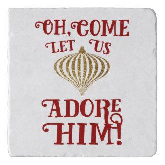 Christian Christmas Gold Ornament Let Us Adore Him Trivet