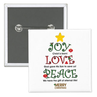 Christian Christmas Joy Love and Peace 2 Inch Square Button