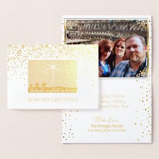 Christian Christmas Wise Men Elegant Gold Photo Foil Card
