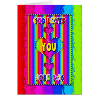 Christian Colorful Card - God Loves You - Youthful