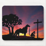 Christian Cowboy horse praying at the cross sunset Mouse Pad