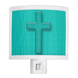 """ Christian Cross""_Aqua_Stream_Wood_Home_Office Night Lights"