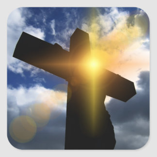 Christian Cross at Easter Sunrise Service Stickers