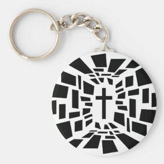 Christian Cross Basic Round Button Keychain