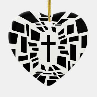 Christian Cross Ceramic Heart Ornament