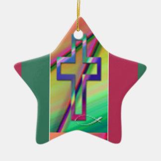 Christian cross ceramic star ornament