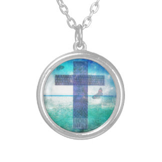 Christian Cross Contemporary  art Silver Plated Necklace