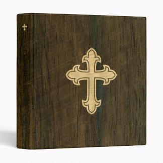 Christian Cross Fleury Maple on Rosewood Vinyl Binder