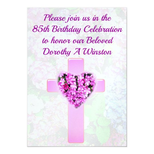 CHRISTIAN CROSS & FLORAL 85TH BIRTHDAY INVITATION