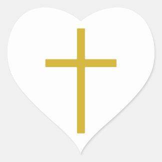 Christian Cross Gold Heart Heart Sticker