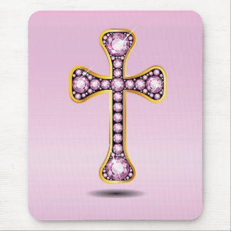 Christian Cross in Gold with Rose Quartz Stones Mouse Pad