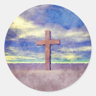 Christian Cross Landscape Classic Round Sticker
