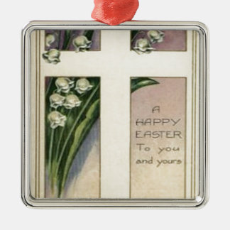 Christian Cross Lily Of The Valley Silver-Colored Square Ornament
