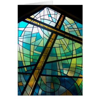 Christian Cross of Jesus Stained Glass Church Card