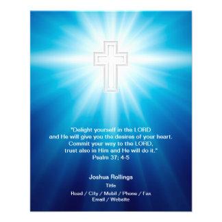 Christian Cross on blue background Flyer