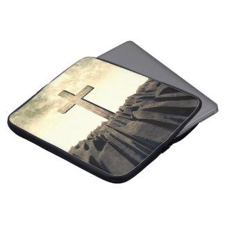 Christian Cross On Mountain Laptop Sleeve