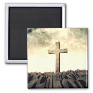 Christian Cross On Mountain Magnet