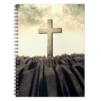 Christian Cross On Mountain Notebook
