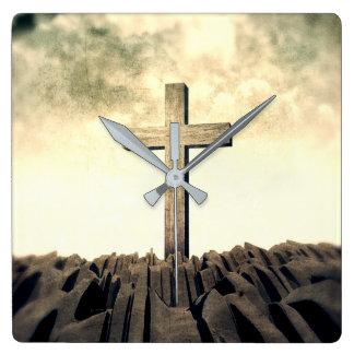 Christian Cross On Mountain Square Wall Clock