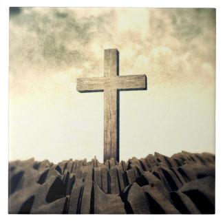 Christian Cross On Mountain Tile