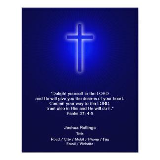 Christian Cross on navy blue background Full Color Flyer