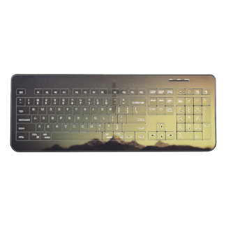 Christian Cross Over Mountains Wireless Keyboard