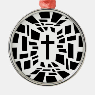 Christian Cross Silver-Colored Round Ornament