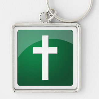 Christian Cross Silver-Colored Square Keychain