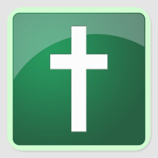 Christian Cross Square Sticker