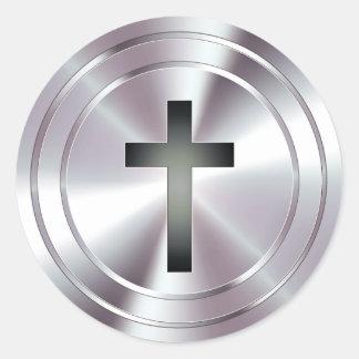 Christian Cross Symbol - chrome silver Classic Round Sticker
