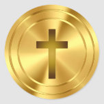 Christian Cross Symbol - gold Round Stickers