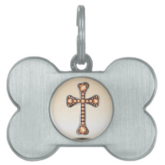 "Christian Cross with ""Amber"" or ""Topaz"" Pet Tag"