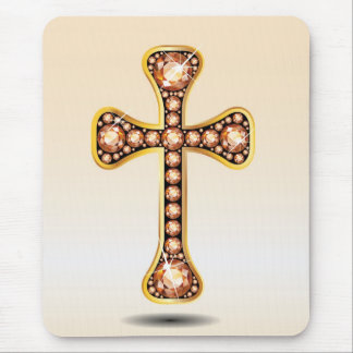 """Christian Cross with """"Amber"""" or """"Topaz"""" Stones Mouse Pad"""