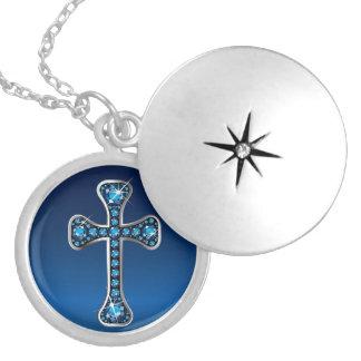 "Christian Cross with ""Aquamarine"" Stones Round Locket Necklace"
